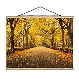 Bilderwelten Imagen de Tela - Autumn In Central Park - 37.5cm x 50cm, Material: Roble