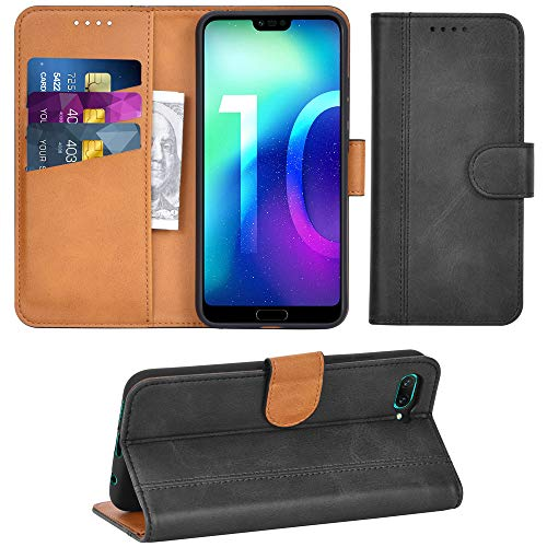 Adicase Huawei Honor 10 Hülle Leder Wallet Tasche Flip Hülle Handyhülle Schutzhülle für Huawei Honor 10 (Dunkelgrau)