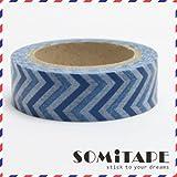 Azul 2 cinta adhesiva con estampado Zigzag, Craft cinta decorativa