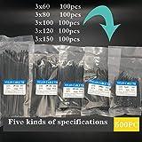 Brida 500 PC de uniones de cable 3x60 3x80 3x100 3x120 3x150mm Negro Surtido de auto-bloqueo de nylon lazo de plástico con cierre para bricolaje, taller, garajes, electricistas,