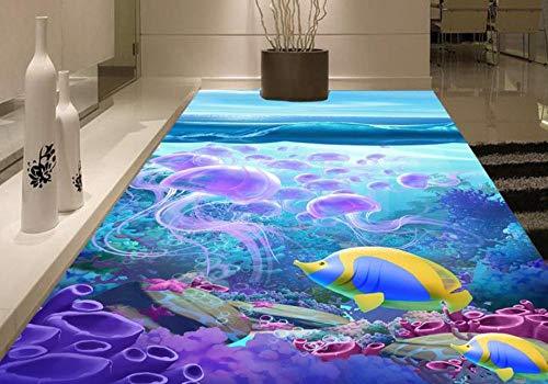 Personalizar suelo 3D papel tapiz de baño papel tapiz de vinilo de coral baldosas de suelo mural de mejoras para el hogar 3D-350x245cm