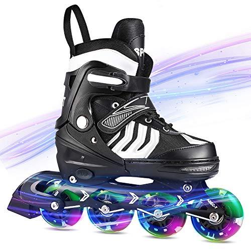 WeSkate Inline Skates Damen /Herren Einstellbare Inline Skate Jungen Mädchen Für Erwachsene Outdoor Rollschuhe Medium / Large Größe (37-44) (Blau, M (37-40))