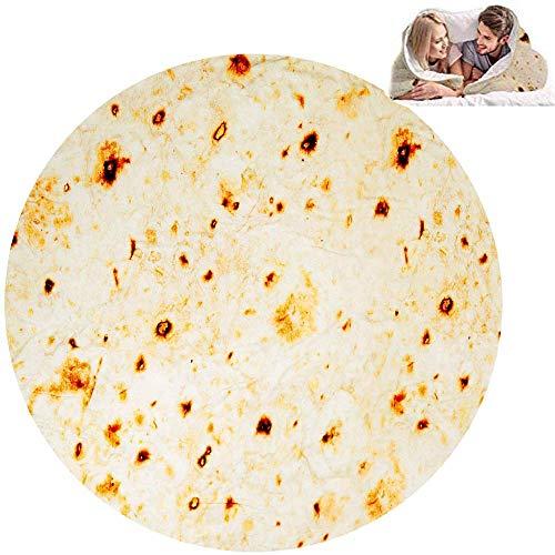 Burritos Tortilla Blanket Funny Soft Flannel Taco Blanket, Novelty Giant Food Blanket for Picnic...