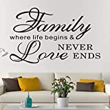 AnFigure Wall Decals for Living Room, Family Wall Decals, Quotes Home Live Inspirational Bedroom Couple Romantic Saying Art Decor Vinyl Stickers Family Where Life Begins and Love Never Ends 26'x16'