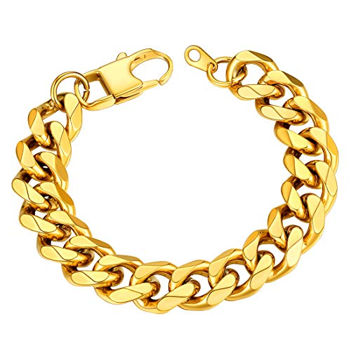 Mens Gold Bracelet 12MM Wide Chunky Cuban Link Chain Bangle 19CM(7.5') Length Present For Dad 18K Gold Plated Stainless Steel Jewellery For Boys Diamond Cut Curb Chain Wrist Bracelet (With Gift Box)