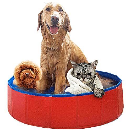 Blusea zwembad voor honden, katten, huisdieren, zwembad, badkuip van PVC, antislip en slijtvast, zijdelingse afvoer met spiraal, als geschenk, geschikt voor binnen en buiten