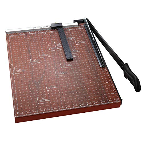 A2-B7 Paper Trimmer Paper Cutter Heavy Duty Trimmer Gridded Paper Photo Guillotine Craft Machine 18 inch Cut Length 12 Sheets Capacity for Office Home Use (Red)