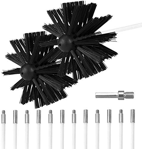 Ventilación de la secadora Cepillo de limpieza Kit de conducto Quitapelusas de la chimenea Usar con o sin un taladro eléctrico 12 varillas de nailon flexibles 2 cabezales de cepillo sintéticos
