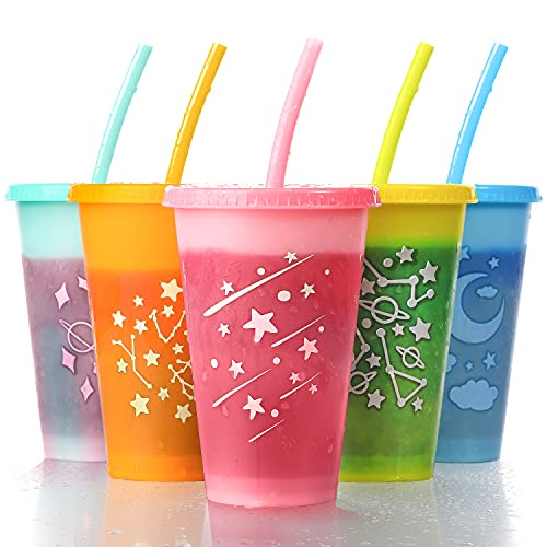 Reusable Plastic Tumbler with Straws Lids - 16 oz Color Changing Cups Kid Tumblers Drinking Cold Straw Cups - Travel Tumblers Bulk Party Cups for Kids Adults