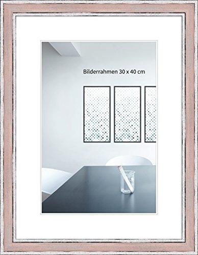 WANDStyle Bilderrahmen Shabby-Chic 21x30cm DIN A4 I Farbe: Rosa I Fotorahmen I Holzbilderrahmen Vintage I Made in Germany I H460