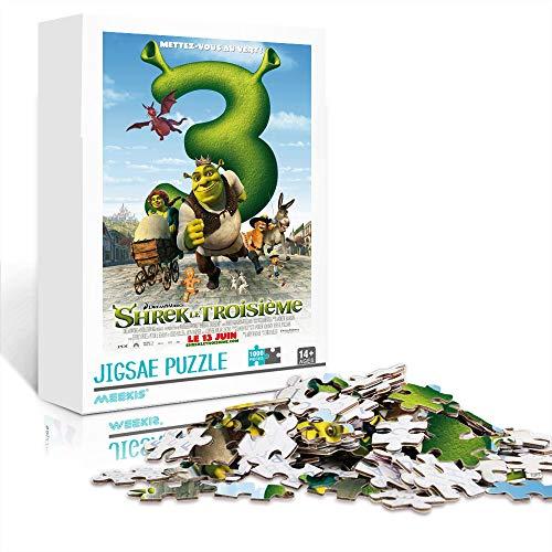 Classic Puzzle Movie poster: Shrek the Third Poster puzzles 1000 piezas 29,5 x 19,5 pulgadas Juegos educativos Rompecabezas de desafío cerebral para niños adultos