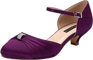 Women Comfort Low Kitten Heel Buckle Ankle Strap Dyeable Satin Bridal Wedding Shoes