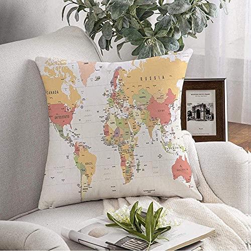 Funda de fundas de almohada Cozy World Map Continent Vintage High Australia Atlas Detalle de transporte detallado Mapa mundial Educación Throw Pillow Cojín Funda para sofá Decoración del hogar, 18 'x