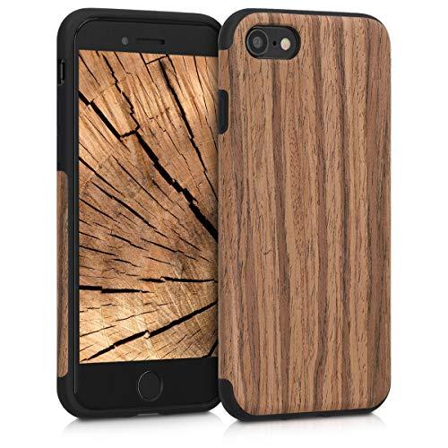 kwmobile Coque Compatible avec Apple iPhone 7/8 / SE (2020) - Étui de Protection pour Téléphone Portable en Bois et TPU - Grain de Bois Marron