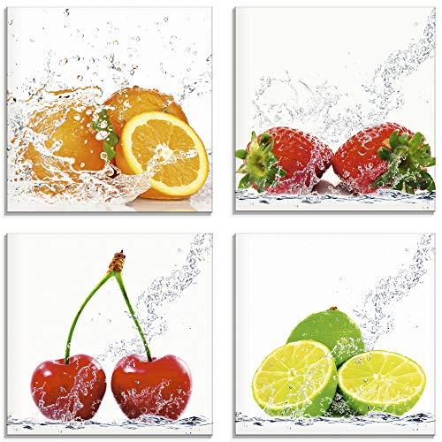 Artland Glasbilder Wandbild Glas Bild Set 4 teilig je 30x30 cm Quadratisch Früchte im Wasser Obst Frucht Orange Erdbeere Kirsche Limette S6MJ