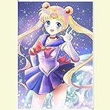 Pegatinas de pared Sailor Moon Anime Cartel De Gran Tamaño Etiqueta De La Pared Hostal Autoadhesivo Arte Mural 90X60Cm C