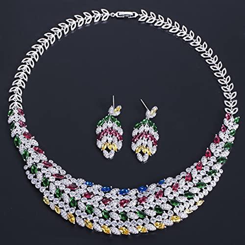 Jskdzfy Brillante Multi Color Cubic Zirconia Collar De Novia Pesado Grande Juego De Joyería para Novias Accesorios De Vestido De Novia Juegos de joyería (Metal Color : Multicolored)