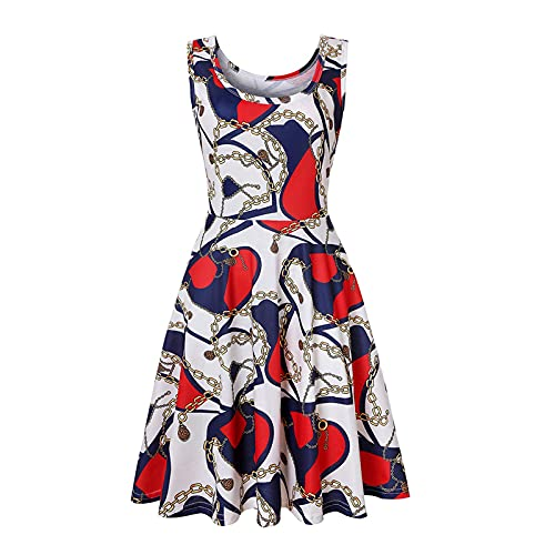 FOTBIMK Vestidos de mujer cuello redondo sin mangas suave rayado A-Line Sun vestido verano casual playa vestido