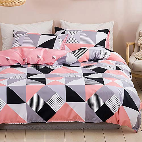 Dencalleus Brushed Bedding Sets Microfibre Soft Geometric Duvet Cover Set, Double Size, Hotel Quality Quilt Covers with Pillowcases and Easy Care, Pink