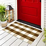 Buffalo Plaid Outdoor Rug - Buffalo Plaid Rug 23x36 - Hand-Woven Layered Door Mat - Fall Door Mat Outdoor - Halloween Doormat - Front Door Mat Outdoor/Welcome Mats for Front Door/Welcome Mat