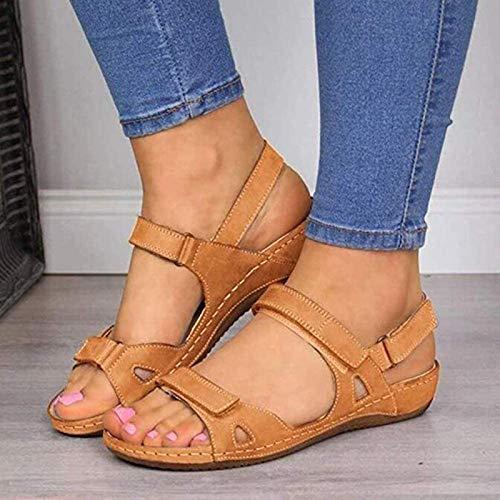 CTEJ 2020 Nuevas Sandalias de Mujer Sandalias de Mujer Suaves y cómodas Sandalias Planas de Tres Colores Zapatos de Playa con Punta Abierta Zapatos de Mujer,Marrón,38
