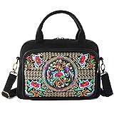 Embroidered Canvas Top Handle Handbag, 3 Layers Crossbody Bag