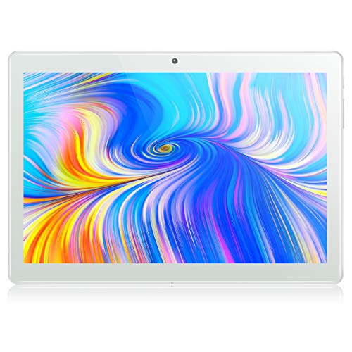 Tablet 10 Zoll Android 8.1, Padgene Google Tablet PC mit Quad Core CPU 2G + 32G Speicher Dual Simkarten Slot Dual Kamera 2.0/5.0 MP WiFi/3G Bluetooth GPS Telefonfunktion(Silber