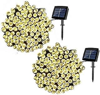 2 عبوة من مصابيح الجنية الشمسية للخيط، 200 LED إضاءة للديكور الخارجي مضادة للماء للكريسماس والحديقة وحفلات الزفاف المنزلية...