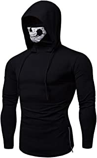 Men's Fashion Skull Mask Pattern Long Sleeve Hooded Sweatshirt Training Pullover Sweatshir