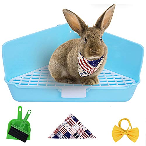 Humorous.P Rabbit Litter Small Animal Litter Potty Trainer Corner Box Toilet Triangle-Sky Blue