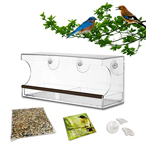 Window Bird Feeder. Extra Large 100% See-Through Clear Acrylic. Strong Suction Cups. Removable Food Tray with Drain Holes. Weatherproof. Great for Outdoor. Includes Bird Food Mix.