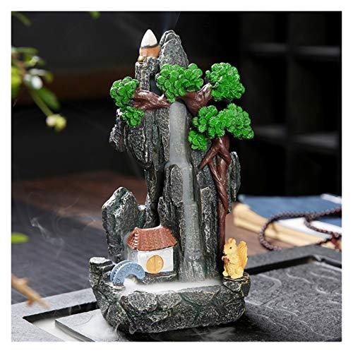 lifebea Soporte de incienso de latón con forma de cachimba de montaña, para aromaterapia, quemador de incienso, paisaje, reflujo de incienso (tamaño: B)