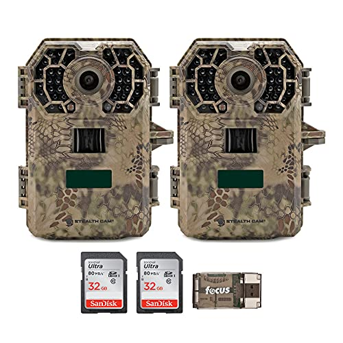 Stealth Cam 2020 G42NG 24MP Trail Cameras (2-Pack) and Memory Cards Bundle. No-Glow Flash, 100-Ft. IR Range, Kryptek Camo, HD Video (5 Items)