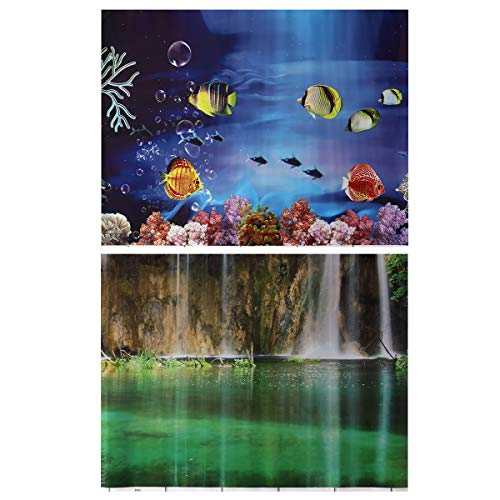 POPETPOP Aquarium Background Sticker Paper, 3D Double Sides Fish Tank Adhesive Wallpaper Decoration, Underwater Backdrop Image Paper Cling (40 x 52cm)