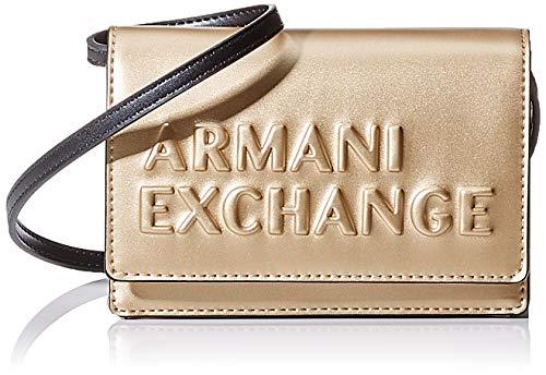 ARMANI EXCHANGE Embossed Logo Crossbody Bag - Borse a tracolla Donna, Oro (Gold), 10x10x10 cm (W x H L)