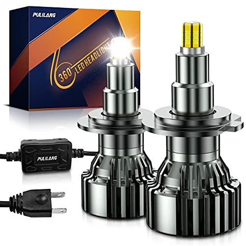 Pulilang Lampadine Auto LED H7 Lampadina per Faro Fascio 360 ° Completo Lampadine per fari a LED Fascio alto- 6 Lati 18 Pezzi Chip CSP 60W Lampada LED Luminosa Delle Auto 6000K 16000LM