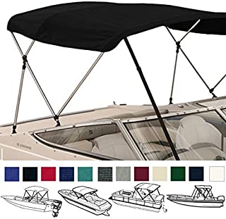 SavvyCraft 3 Bow Bimini Top Boat Cover 1 Inch Aluminum Frame with Storage Boot and Rear Poles Mounting Hardwares Includes Height: 36