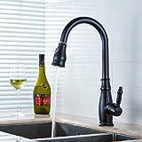Gimili Küche Wasserhahn Schwarz mit Ausziehbarer Brause Einhandmischer für Küchen Spüle Einhebel...