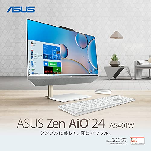 ASUSオフィス付き一体型パソコンA5401W(23.8インチ/Corei7-10700T/16GB・SSD512GB(PCIE3.0×2)・HDD1TB/1,920×1,080(フルHD)/Webカメラ/ワイヤレスキーボード&マウス付属/MicrosoftOfficeH&B2019)【日本正規代理店品】【あんしん保証】A5401W-I710700ECO