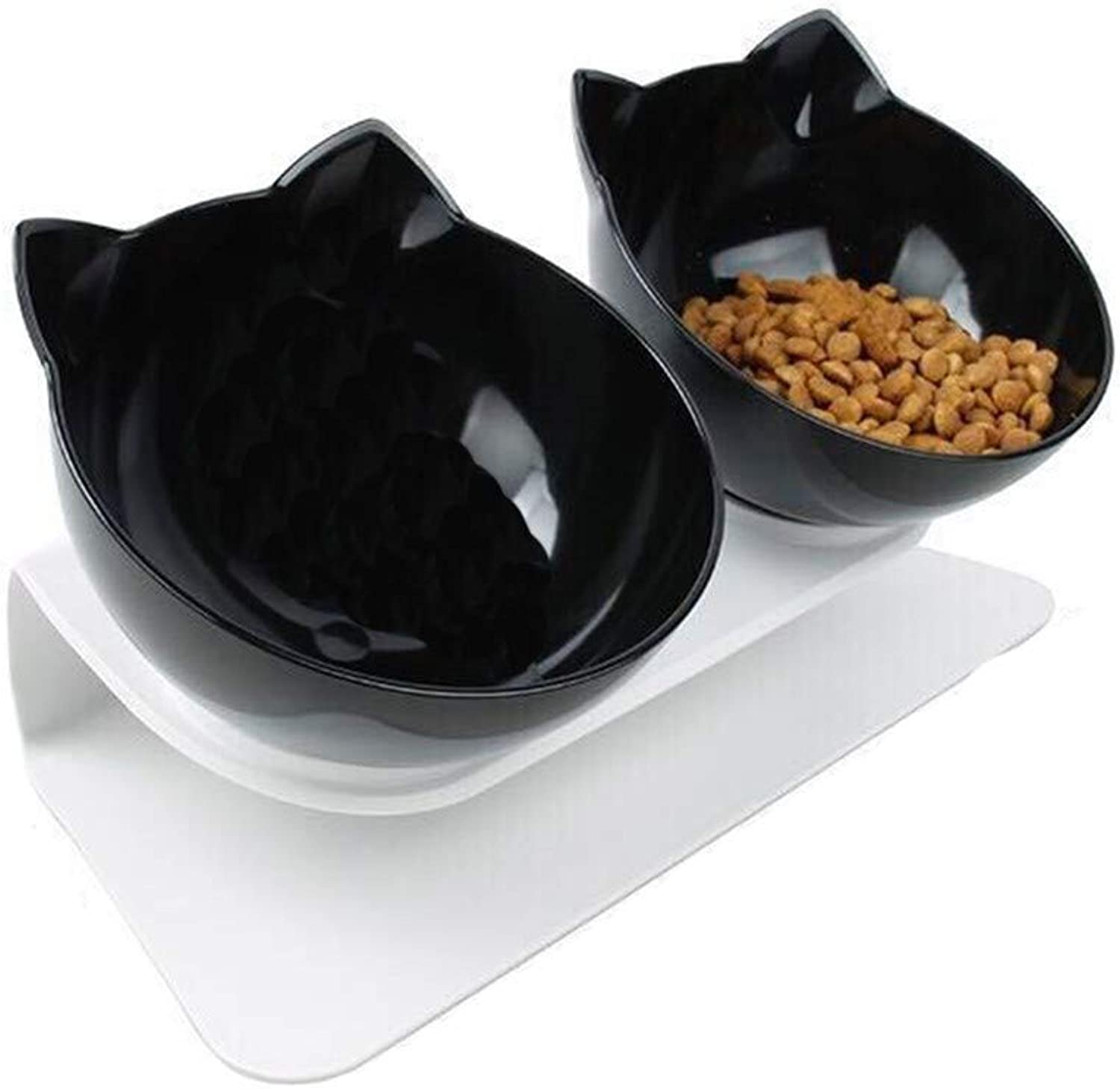 Pet feeder,Dog Cat Ceramics Easy to clean Easy to carry Solid and durable Natural Nonslip Adjustable high Detachable Double bowl