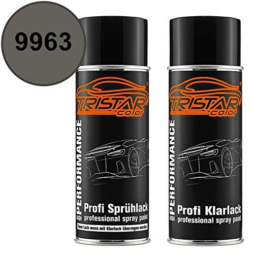 TRISTARcolor Autolack Spraydosen Set für Mercedes/Daimler Benz 9963 Indiumgrau Metallic/Iridium Grey Metallic Basislack Klarlack Sprühdose 400ml