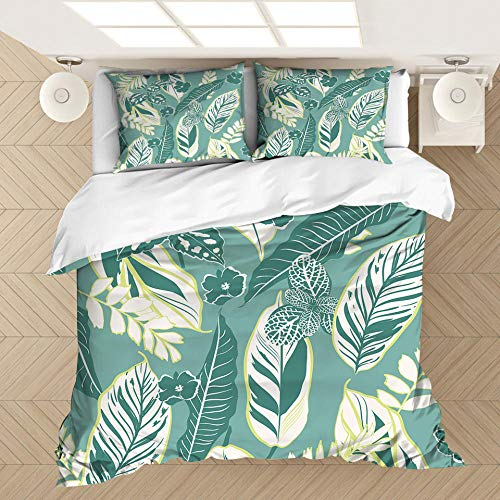 AHJJK 3 Piece Set Bedding Green feathers and leaves 3D Printed Microfiber Duvet Cover Sets with 2 Pillowcases & Zipper Closure Quilt Case for single beds, double beds and king beds 79 x 79 inch