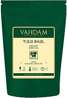 VAHDAM, Tulsi Basil Green Tea Loose Leaf (50 Cups)   Holy Basil Tea   Blend Of Pure Green Tea Leaves & Fresh Basil Leaves   Tulsi Tea   POWERFUL ANTI-OXIDANTS   Brew as Hot Tea or Iced Tea   3.53oz