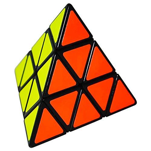 EASEHOME Triángulo Piramide Speed Magic Puzzle Cube, Pyraminx Rompecabezas Cubo Mágico PVC Pegatina para Niños y Adultos, Negro