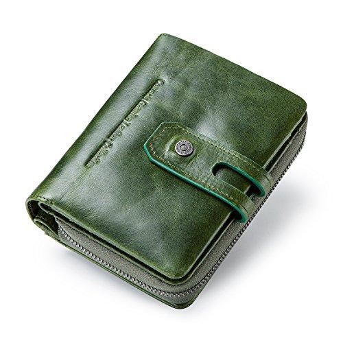 Contacts Echtes Leder Damen Trifold Coin Kartenhalter Clutch Reißverschluss Geldbörse Purse Wallet (Grün)