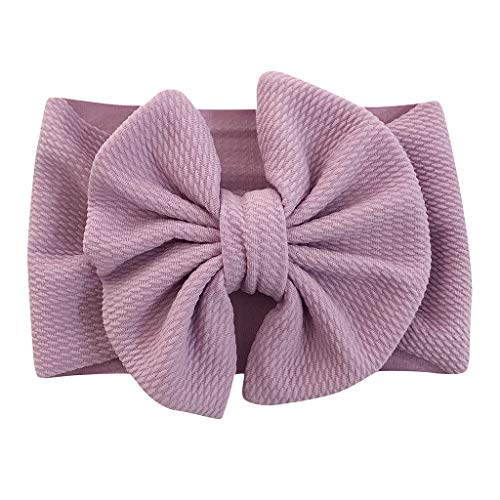 Holzkary Elastic Hairbands Newborn Soft Head Wraps Turban Bow Knot Hair Hoops for Toddlers Little Girls Photo Props(Purple)