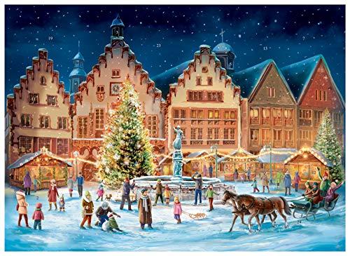 Sellmer Adventskalender Frankfurt Römerplatz, Papier-Adventskalender A3 mit Glimmer