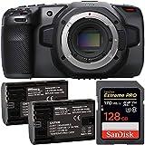 Blackmagic Design Pocket Cinema Camera 6K with SanDisk Extreme PRO 128GB SDXC Memory Card (UHS-I / V30 / U3 / Class-10) + 2X Extended Life LP-E6 Replacement Batteries (7.4V / 2700mAh / 20.0Wh)