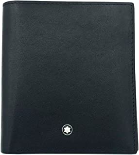 Black Men's Leather Folding Wallet 6Cc