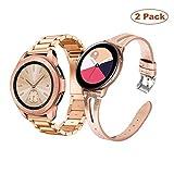 YaYuu Compatible Samsung Galaxy Watch 42mm Bracelets de Montre 22mm Remplacement Acier Inoxydable Métal Bande+Cuir Bracelet Sport Bande pour Galaxy Active 40mm/Gear S2 Classic/Gear Sport (métal+Cuir)